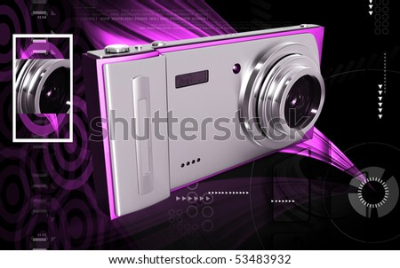 Digital illustration of camera in colour background
