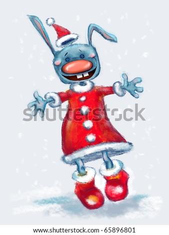 digital illustration of cartoon funny christmas rabbit