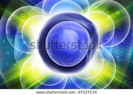 Digital illustration of CELL in colour background