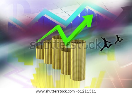 digital illustration of color background showing rise in profit or earnings