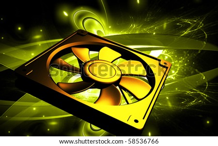 Digital illustration  of computer cooling fan in colour background