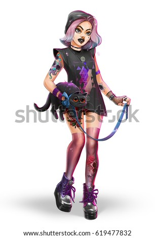 Digital illustration of cute beautiful fashionable hipster girl with a cat. Street punk rock look, isolated on white background.