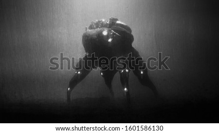Digital illustration of cyberpunk scary monster spider standing in the night scene with rain. Silhouette of futuristic post apocalypse spider robot. Concept art science fiction creepy alien character.