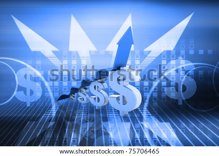 Digital illustration of 3D rendered arrow diagram moving up over dollar graph bar in colour background