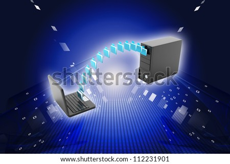 Digital illustration of Data transfering concept in color background - stock photo