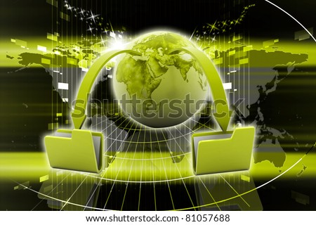 Digital illustration of Data transfering concept in color background