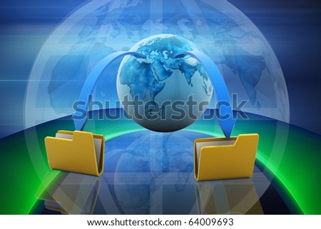 Digital illustration of Data transfering concept in colour background