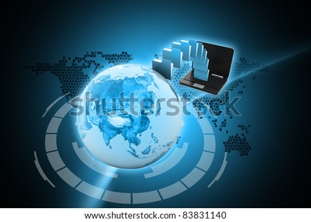 Digital illustration of Data transfering in  color background