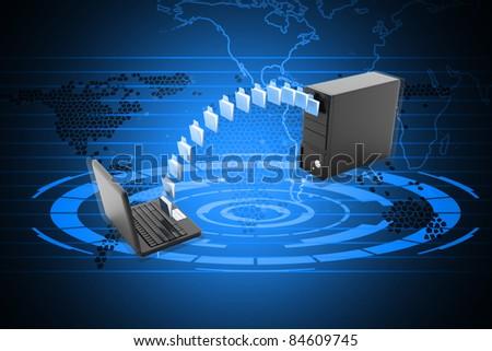 Digital illustration of Data transferring in color background