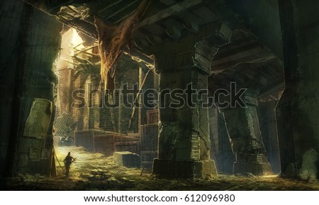 digital illustration of destroyed abandoned city street view environment landscape under bridge