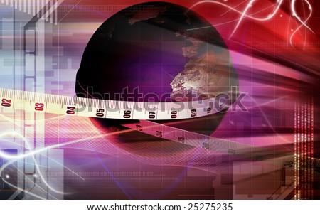 Digital illustration of digital globe and measuring tape