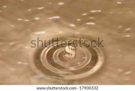 Digital illustration of dollar and waves in sepia colour