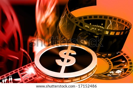 Digital illustration of dollar film roller