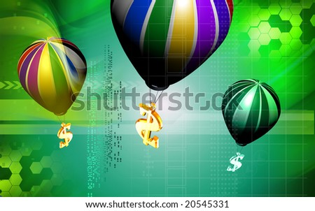 Digital illustration of Dollar sign and parachute
