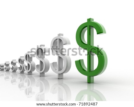 Digital illustration of Dollar sign in 3d on white background