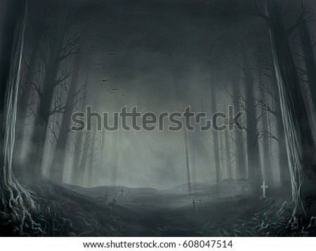digital illustration of dread death dark night forest
