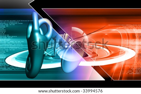 Digital illustration of  ear in colour  background