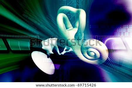 Digital illustration of  ear in colour  background - stock photo