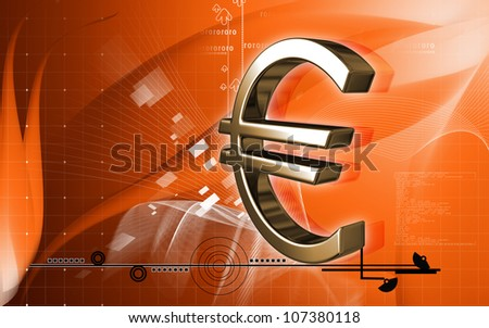 Digital illustration of euro symbol in colour background