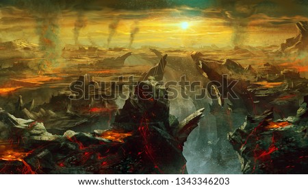 digital illustration of fantasy environment background in hell with larva Stock photo ©