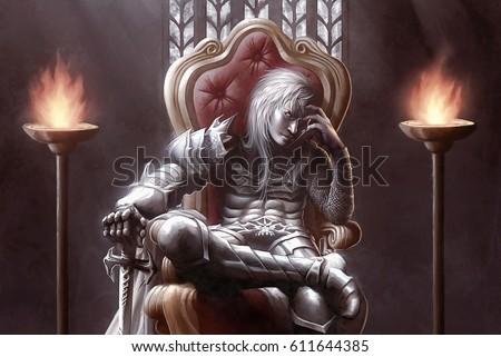 digital illustration of fantasy evil dark medieval knight killer warrior slayer sitting on throne