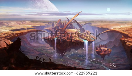 digital illustration of fantasy futuristic science fiction floating land with alien building and waterfall in canyon valley with primates shouting in front and planet in back
