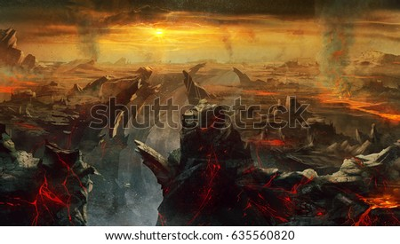 Shutterstock digital illustration of fantasy medieval environment landscape concept background in hell with larva and volcano