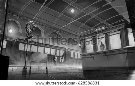 digital illustration of fantasy scene of train station platform at night