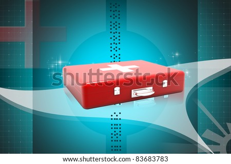 Digital illustration of first aid box in color background