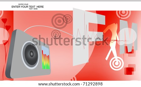 Digital illustration of FM radio on abstract background