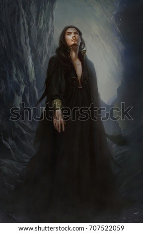 Digital illustration of full figure realistic dark fantasy sexy male man warlock wizard Satan