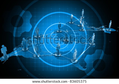 Digital illustration of Global business network concept in color background