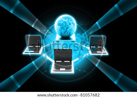 Digital illustration of Global Computer Network concept in color background