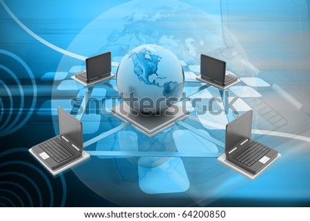 Digital illustration of Global Computer Network concept in colour background