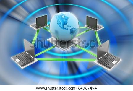 Digital illustration of Global Computer Network concept in colour background