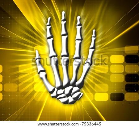 Digital illustration of hand bone in color background