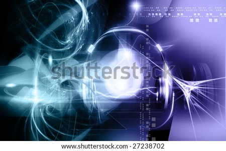 Digital illustration of headphone and sparking light