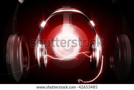 Digital illustration  of headphone  in colour background
