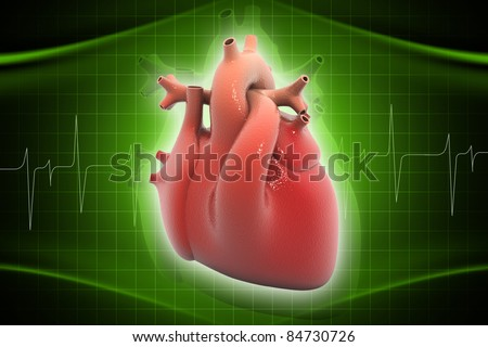 Digital illustration of heart in color background