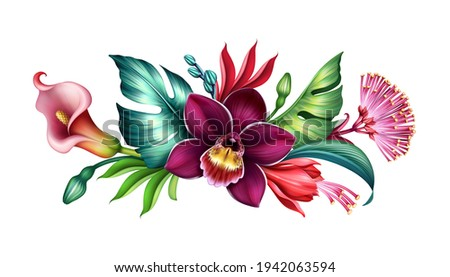 digital illustration of horizontal floral arrangement, botanical composition with assorted tropical flowers and green leaves isolated on white background, colorful bouquet Stockfoto ©