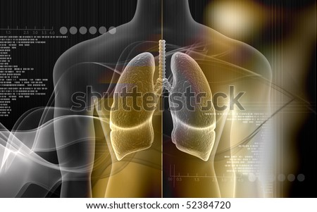 Digital illustration of human body and lungs in colour background
