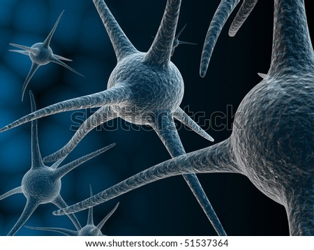 Digital illustration of Human neuron cell rendering in 3d on color background