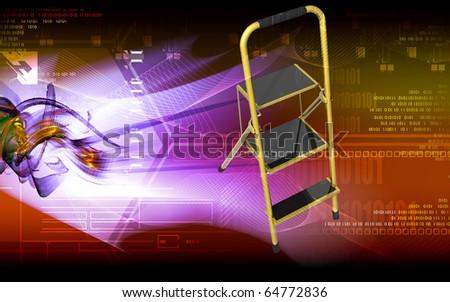 Digital illustration of ladder in colour background