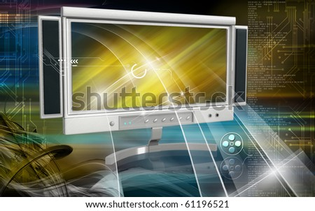 Digital illustration of LCD Monitor in color background