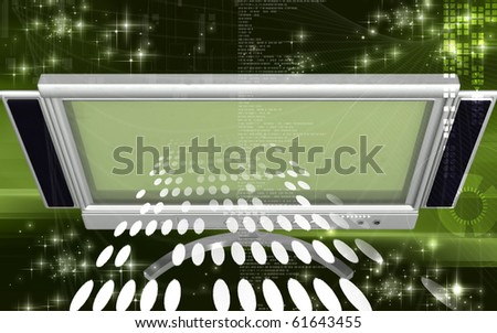 Digital illustration of LCD Monitor in colour background