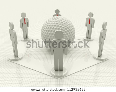 Digital illustration of men and golf ball in white background / Men & Golf Ball