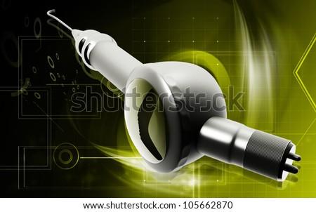 Digital illustration of Micro motor dental polisher   in colour background - stock photo