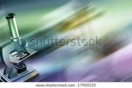 Digital illustration of microscope in blur background