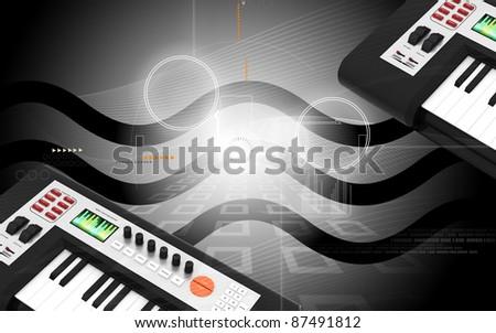 Digital illustration of music midi mixer in colour background