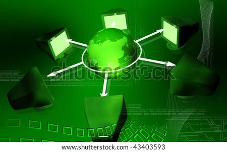 Digital illustration of network in colour background